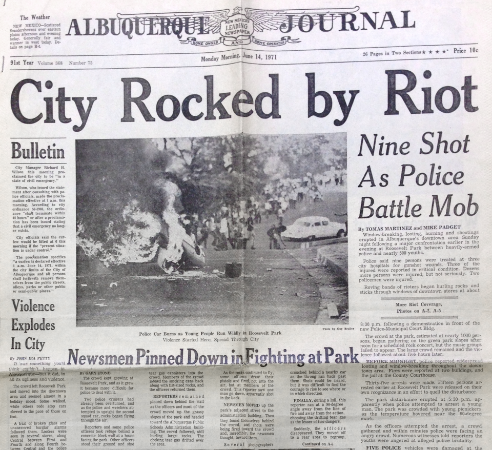 Front page of the Albuquerque Journal on June 14th 1971
